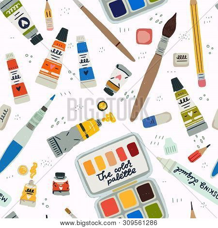 Seamless Pattern Art Supplies. Repeated Hand Drawn Paint Tube, Brush, Pencil, Rubber, Color Palette
