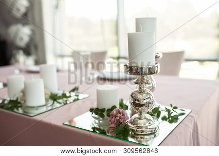 The Wedding Table Setting For The Newlyweds Is Decorated With Fresh Flowers Of Carnation, Rose, Anth