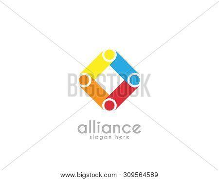 Partnership Alliance Logo- White Background Illustartion Design