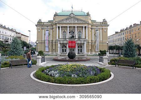 Rijeka, Croatia - October 17, 2014: Croatian National Theatre Ivan Zajc Building In Rijeka, Croatia.