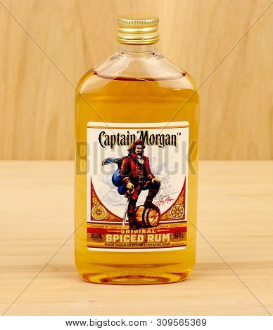 Spencer, Wisconsin, July,1, 2019    Bottle Of Captain Morgan Spiced Rum   Captain Morgan Is A Brand