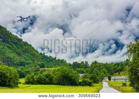 Norway, Beautiful View Of Mountain In Fog and Green Valley, Norway Mountain Landscape, Odda, Norway