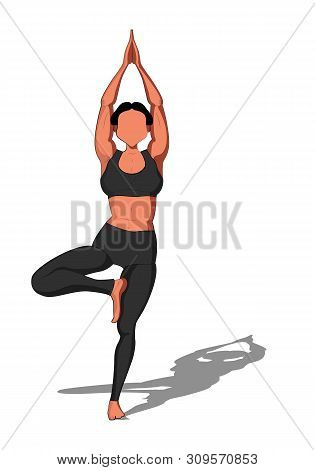 Beautiful Girl Exercising Yoga. Yoga Asana Vrikshasana Tree Pose