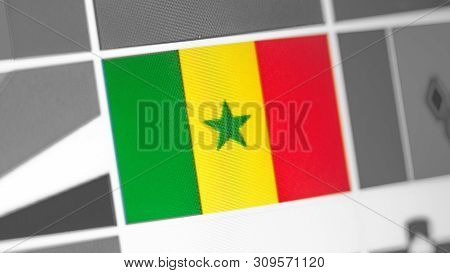 Senegal National Flag Of Country. Senegal Flag On The Display, A Digital Moire Effect. News Of Geogr
