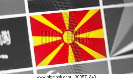 Northern Macedonia National Flag Of Country. Northern Macedonia Flag On The Display, A Digital Moire