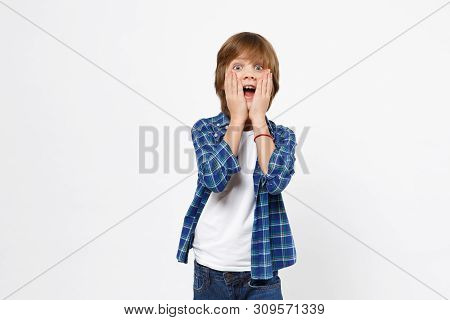Fun Shocked Surprised Little Kid Boy In Blue T-shirt Put Hands On Face, Hiding Cover Isolated On Whi