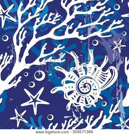 Seamless Pattern With Decorative Shells, Corals, Seastars
