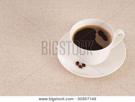 White Cup Filled With Fresh Black Coffee