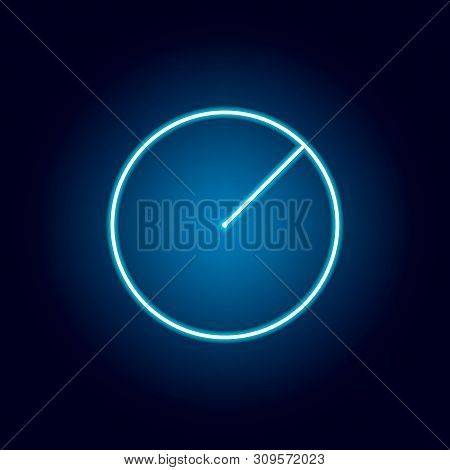 Radius Of A Circle Icon In Neon Style. Geometric Figure Element For Mobile Concept And Web Apps. Thi