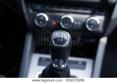 Citroen Gear-lever On Black Background Gear Lever In The Car.