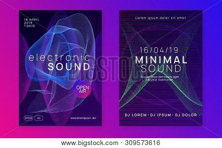 Dj event. Dynamic fluid shape and line. Geometric show cover set. Dj event neon flyer. Techno trance party. Electro dance music. Electronic sound. Club fest poster. poster