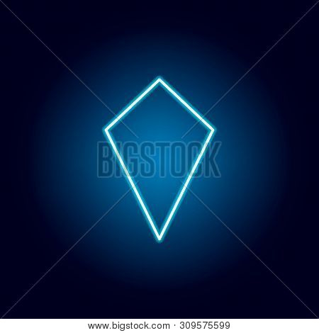 Deltoid Icon In Neon Style. Geometric Figure Element For Mobile Concept And Web Apps. Thin Line Icon