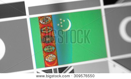 Turkmenistan National Flag Of Country. Turkmenistan Flag On The Display, A Digital Moire Effect. New