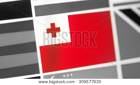 Tonga National Flag Of Country. Tonga Flag On The Display, A Digital Moire Effect. News Of Geography