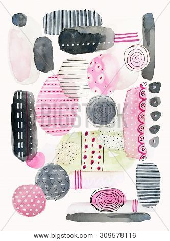 Watercolor Painting Of Hand Drawn Pink, Gray And Green Abstract Shapes