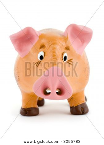 Close-up of toy pig isolated on white background poster