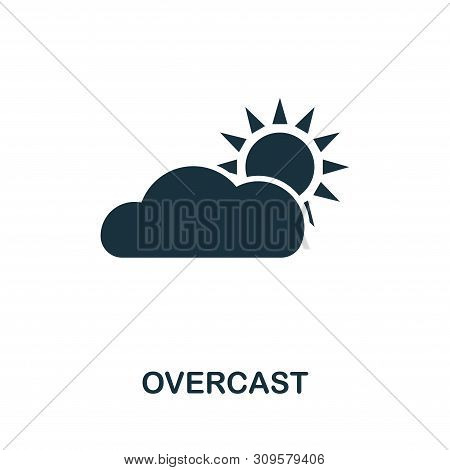 Overcast Vector Icon Symbol. Creative Sign From Icons Collection. Filled Flat Overcast Icon For Comp