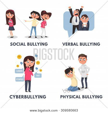 Stop Bullying Posters Set. Bullying Types In Cartoon Style Verbal, Social, Physical, Cyberbullying.