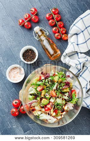 Green Salad With Cherry Tomatoes, Romano Lettuce, Frisse, Lollo Rosso, Feta Cheese, Avocado With Oli