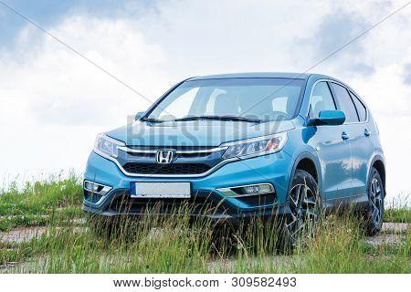Mnt. Runa, Ukraine - Jun 22, 2019: Honda Crv On A Paved Platform In Mountains. 4 Generation Of A Pop