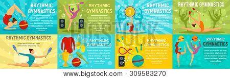 Rhythmic gymnastics banner set. Flat illustration of rhythmic gymnastics vector banner set for web design poster