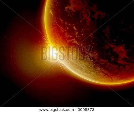 Red Planet Earth In Outer Space