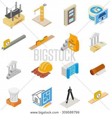 Construction Tool Icons Set. Isometric Set Of 16 Construction Tool Vector Icons For Web Isolated On