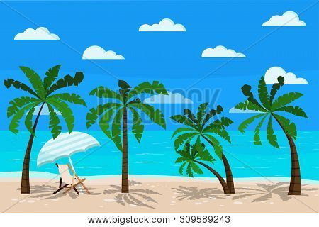 Beautiful Sea Landscape With Chaise Longue Vector Illustration