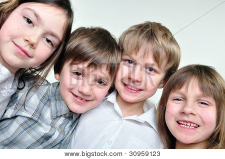 Happy Schoolmates Girls And Boys Friends
