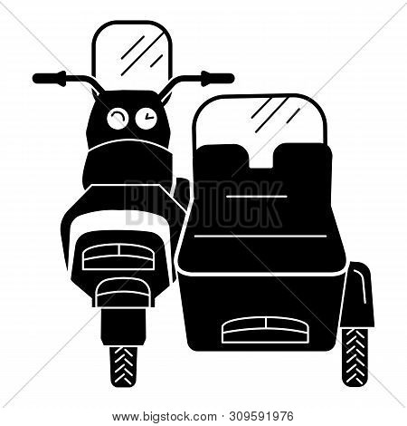 Back Of Motorcycle With Sidecar Icon. Simple Illustration Of Back Of Motorcycle With Sidecar Vector