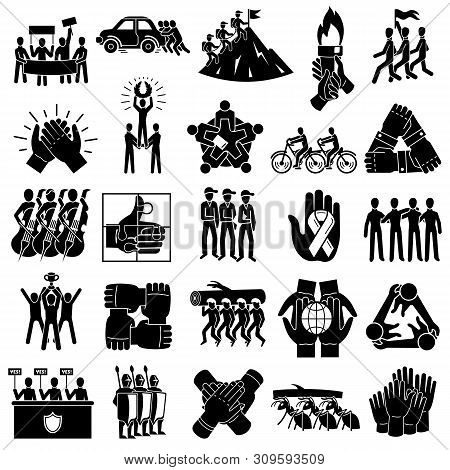 Cohesion icons set. Simple set of cohesion vector icons for web design on white background poster