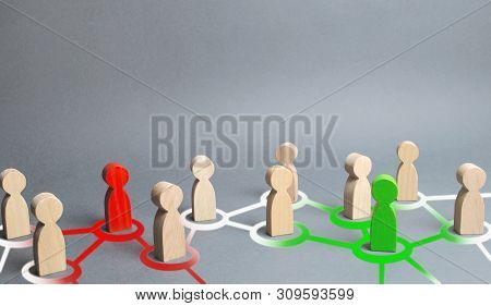 red and green figures of people influence on their surroundings people through communication and social networks. Pressure, influence on public opinion, communicating, point of view, mind control. poster
