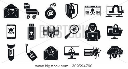Cyber Attack Virus Icons Set. Simple Set Of Cyber Attack Virus Vector Icons For Web Design On White