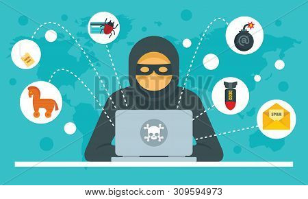 Cyber Attack Concept Background. Flat Illustration Of Cyber Attack Vector Concept Background For Web