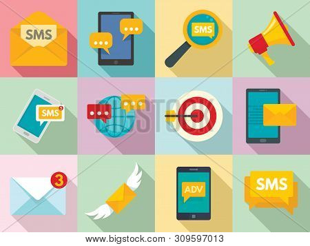 Sms Marketing Icons Set. Flat Set Of Sms Marketing Vector Icons For Web Design