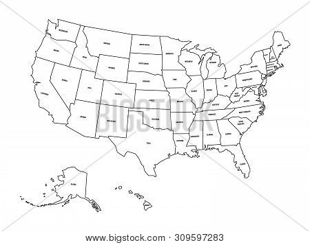 Political Map Of United States Od America, Usa. Simple Flat Black Outline Vector Map With Black Stat