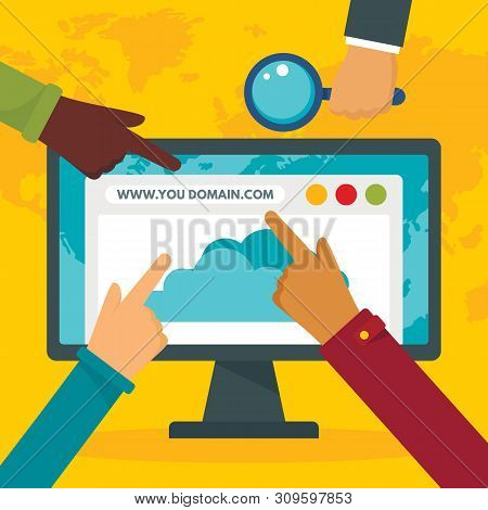 Http Domain Concept Background. Flat Illustration Of Http Domain Vector Concept Background For Web D