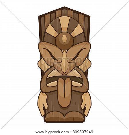 Aztec Tiki Idol Icon. Cartoon Of Aztec Tiki Idol Vector Icon For Web Design Isolated On White Backgr