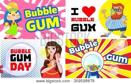 Gum Chewing Banner Set. Cartoon Illustration Of Gum Chewing Vector Banner Set For Web Design