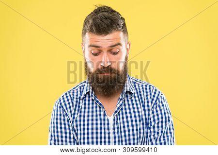 Feeling Sorry. Embarrassment Concept. Feel So Sorry. Man Bearded Regretful Face. Guy Bearded Sorry.