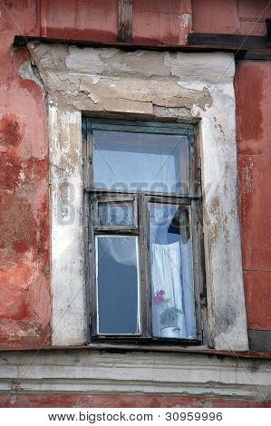 Window in the old Russian house