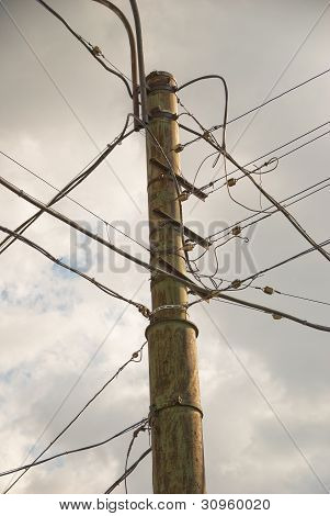 Pole with lots of wires