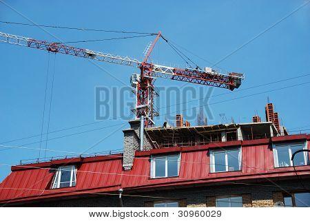 A crane over a building