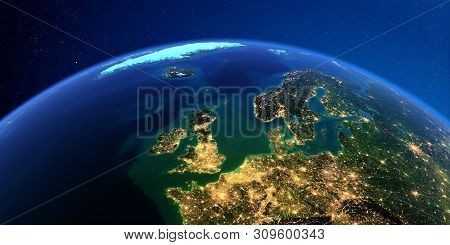 Planet Earth With Detailed Exaggerated Relief At Night Lit By The Lights Of Cities. Urope. United Ki