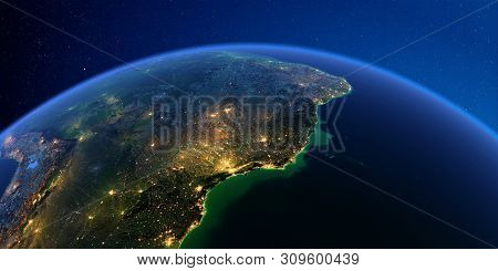 Planet Earth With Detailed Exaggerated Relief At Night Lit By The Lights Of Cities. Central America.