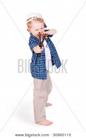 Expressive Emotional Little Boy With Slingshot