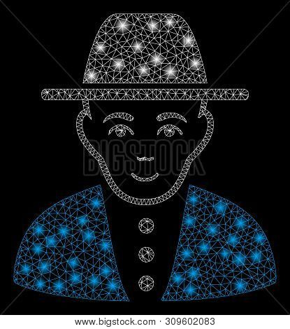 Glowing Mesh Jew With Glare Effect. Abstract Illuminated Model Of Jew Icon. Shiny Wire Carcass Trian