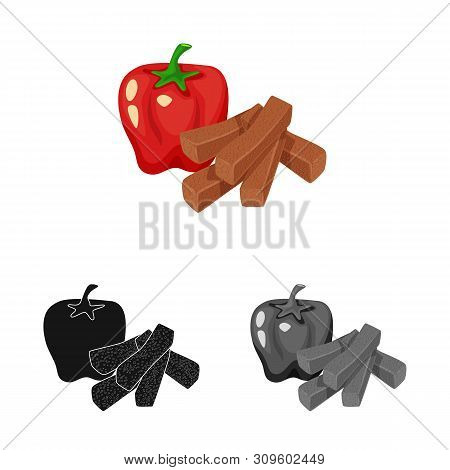Vector Design Of Croutons And Bread Icon. Collection Of Croutons And Red Stock Vector Illustration.