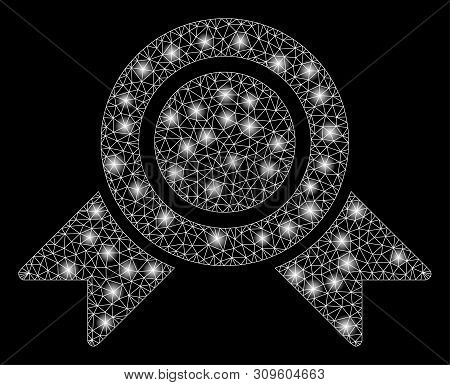 Glossy Mesh Honour Medal With Glitter Effect. Abstract Illuminated Model Of Honour Medal Icon. Shiny