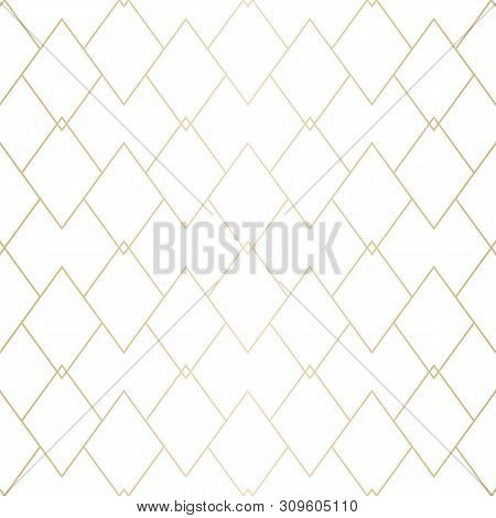 Vector Gold And White Geometric Texture. Elegant Seamless Pattern With Thin Lines, Diamonds, Rhombus